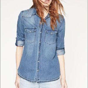 Zara blue denim button down shirt